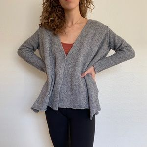 Free People chunky grey wool swing cardigan